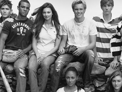 old abercrombie ad, early 2000s, black and white, large logos